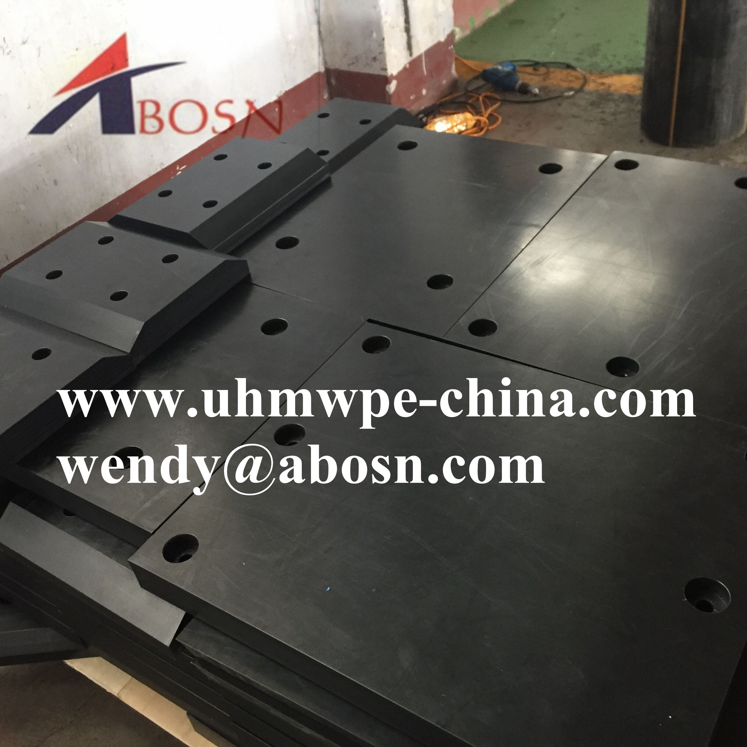 Black 50MM Thick UHMWPE Pad with Holes